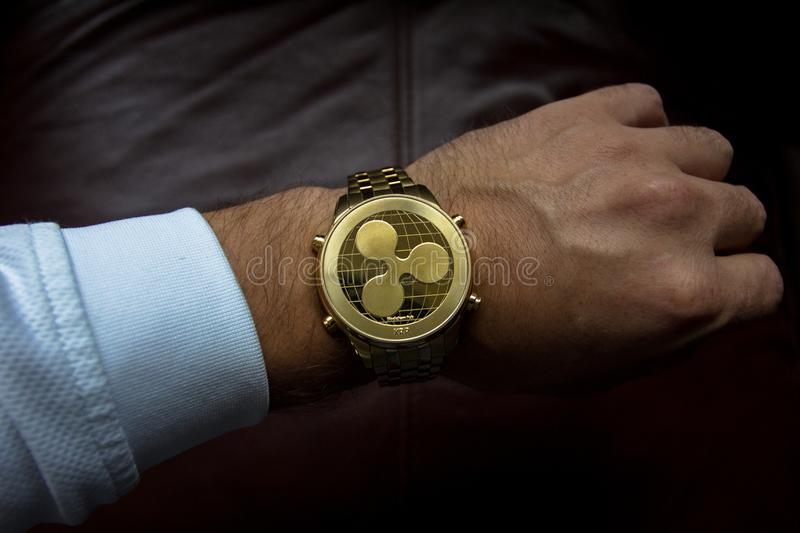 Person Wearing Round Gold Watch royalty free stock photography