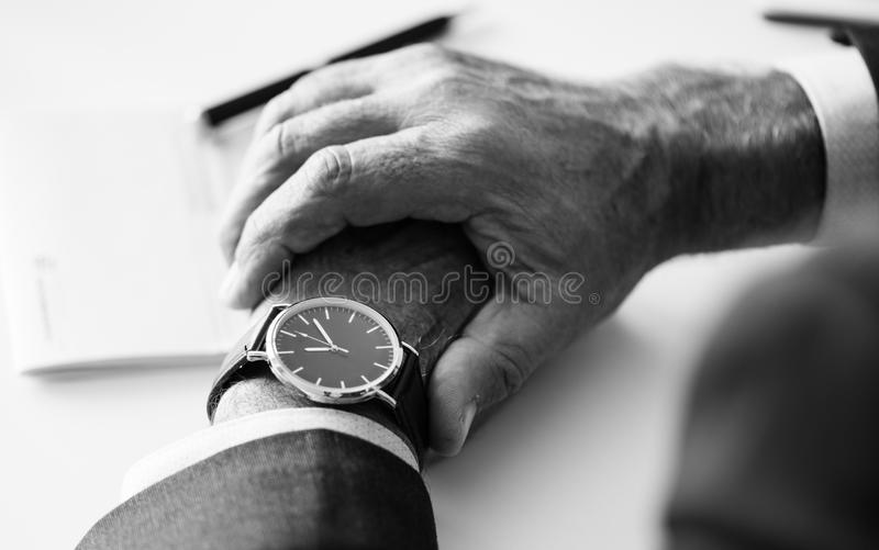 Person Wearing Round Silver-colored Analog Watch royalty free stock photography