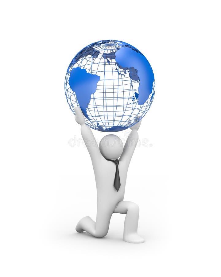 Person, welche die Welt anhält lizenzfreie abbildung