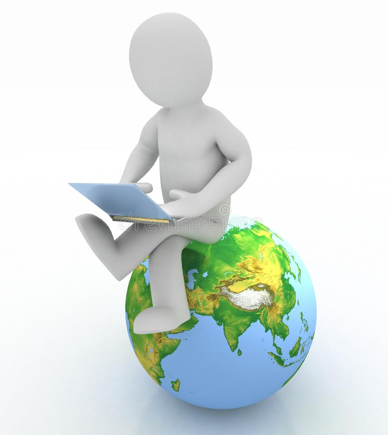 Free Person With A Laptop And Globe Royalty Free Stock Images - 27556069