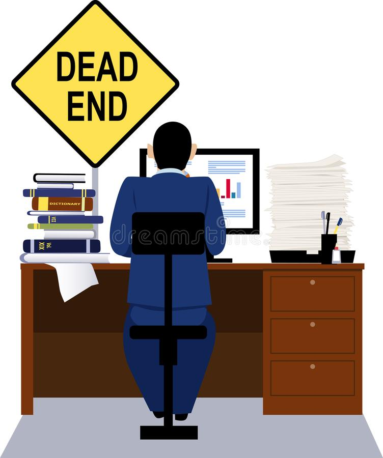 Dead-end job. Person working at the desk with a dead end sign above it as a metaphor for a dead-end job, EPS 8 vector illustration vector illustration