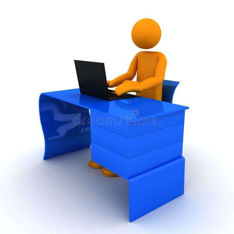 Person working on laptop. 3D render vector illustration