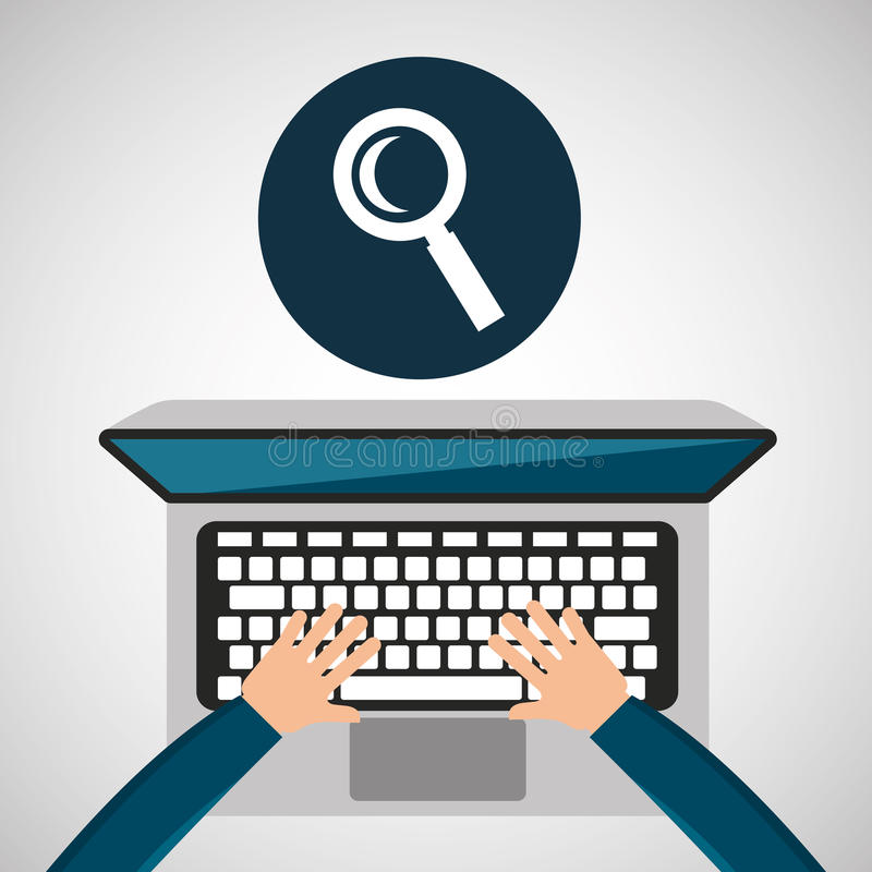 Person working laptop search social media graphic vector illustration