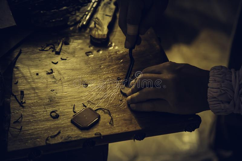 Person working with leather. In traditional way, artisan work detail royalty free stock photography