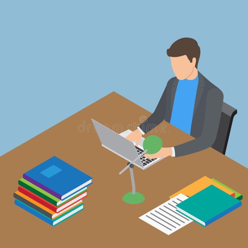 Person Working masculino anónimo con el ordenador portátil en la tabla stock de ilustración