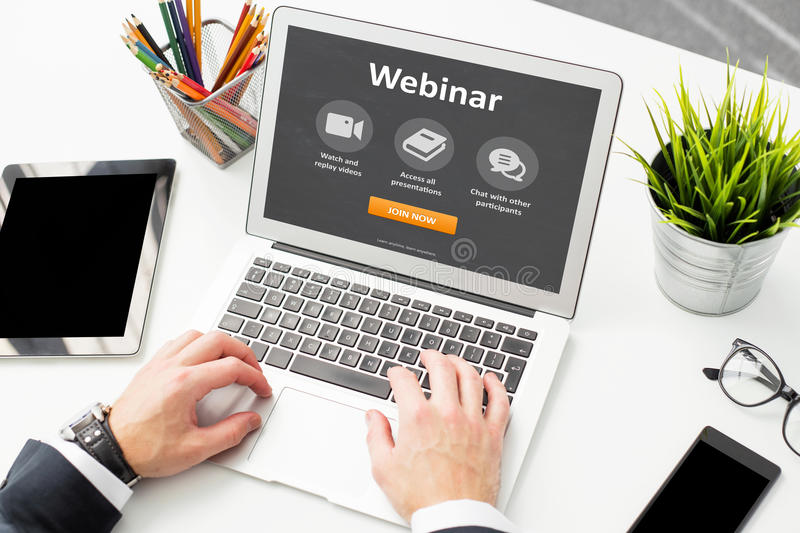 Person would join webinar on laptop royalty free stock photos