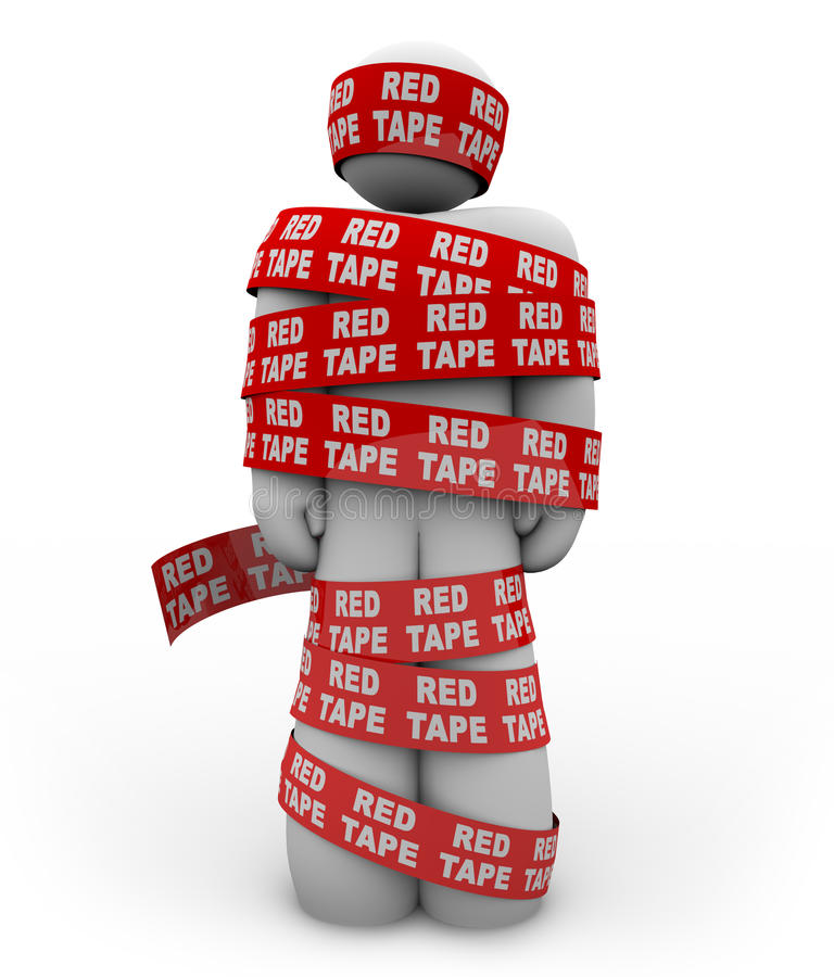 Free Person Wrapped Up In Red Tape Of Bureaucracy Royalty Free Stock Photography - 20663827