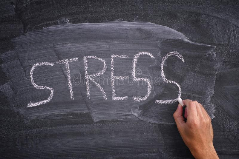 Person writing the word Stress on a blackboard. Close up royalty free stock images