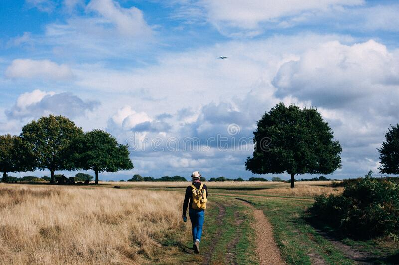 Person in Yellow and Black Backpack Walking on Green Grass Field Under Cloudy Blue Sky during Daytime royalty free stock photography