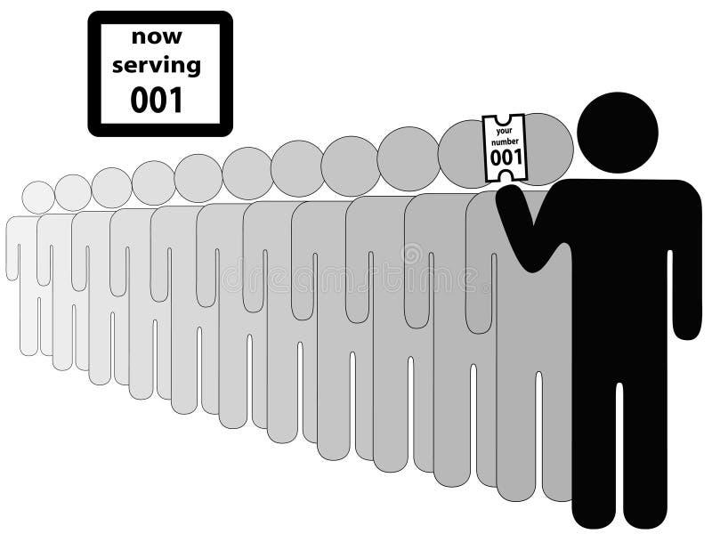 Person zuerst in der Zeile lizenzfreie abbildung