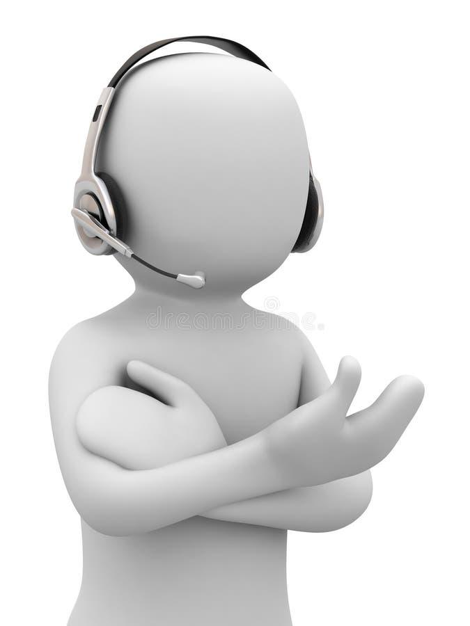 persona 3d con el receptor de cabeza stock de ilustración