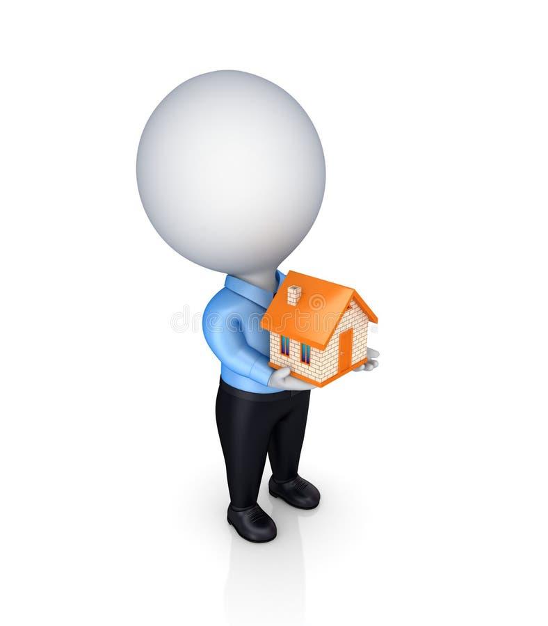 persona 3d con una pequeña casa en manos. stock de ilustración