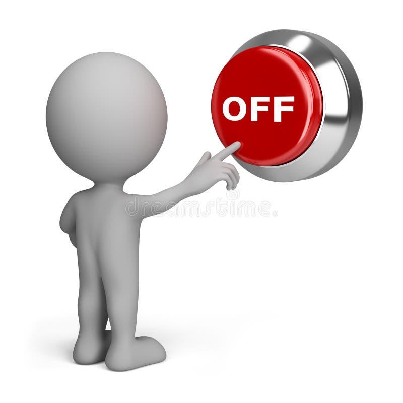 persona 3d que presiona el botón apagado stock de ilustración