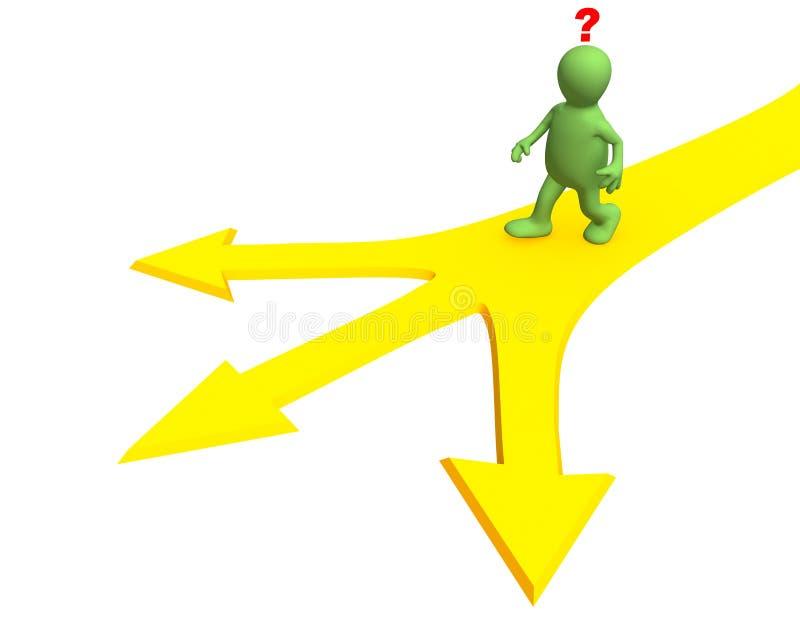 persona 3d, yendo a una fork de tres caminos ilustración del vector