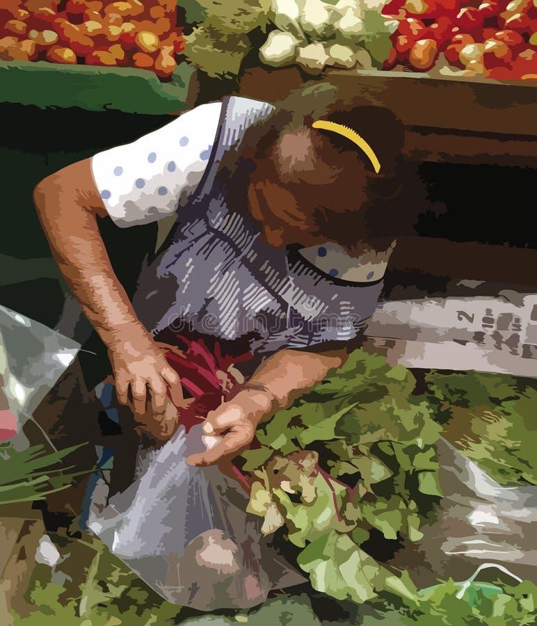Persona anziana al mercato di verdura e della frutta, disegno indicativo fotografie stock