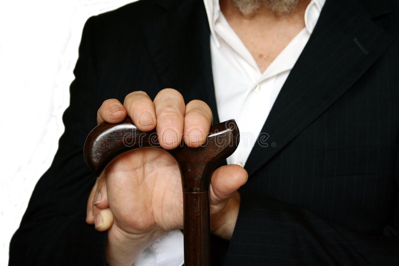 Persona anziana con la canna immagine stock libera da diritti