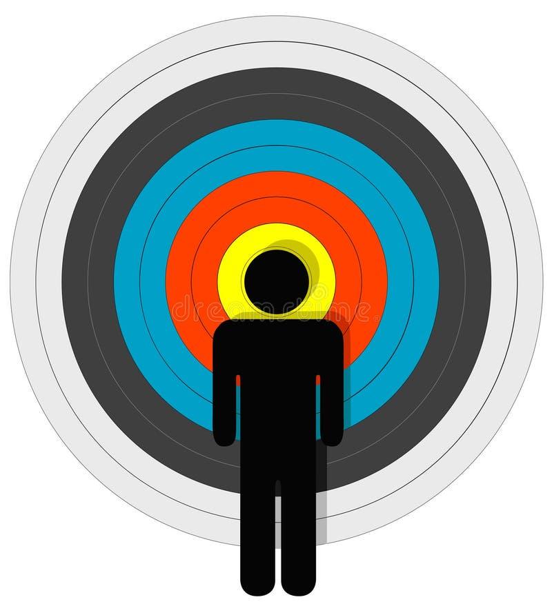 Persona apuntada en diana stock de ilustración