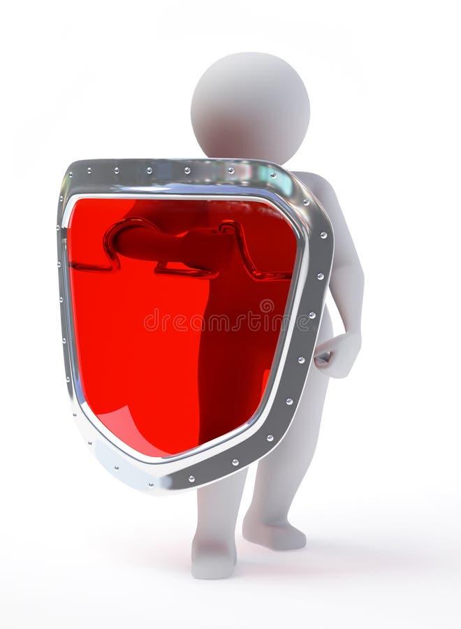 persona astratta 3d nella posa della protezione con lo schermo illustrazione vettoriale