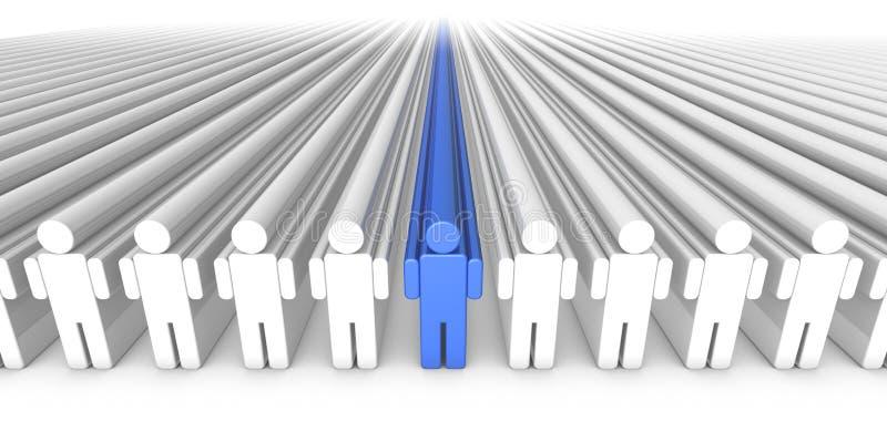 Persona azul de la gente 3D del icono en el centro ilustración del vector