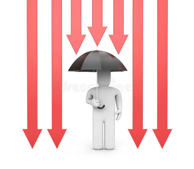 Persona bajo protección stock de ilustración