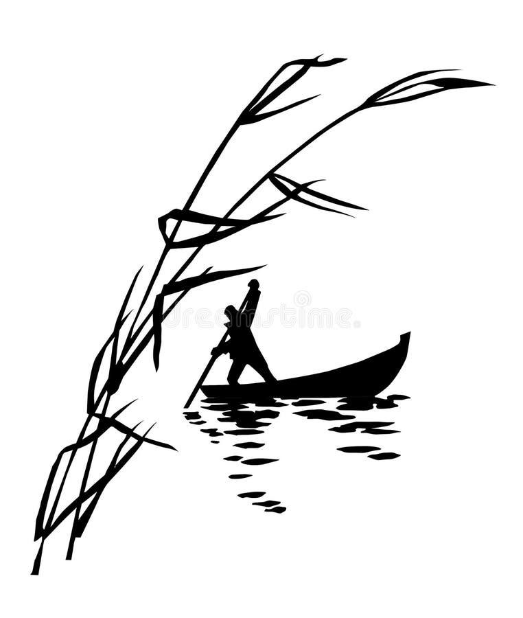 Persona in barca royalty illustrazione gratis