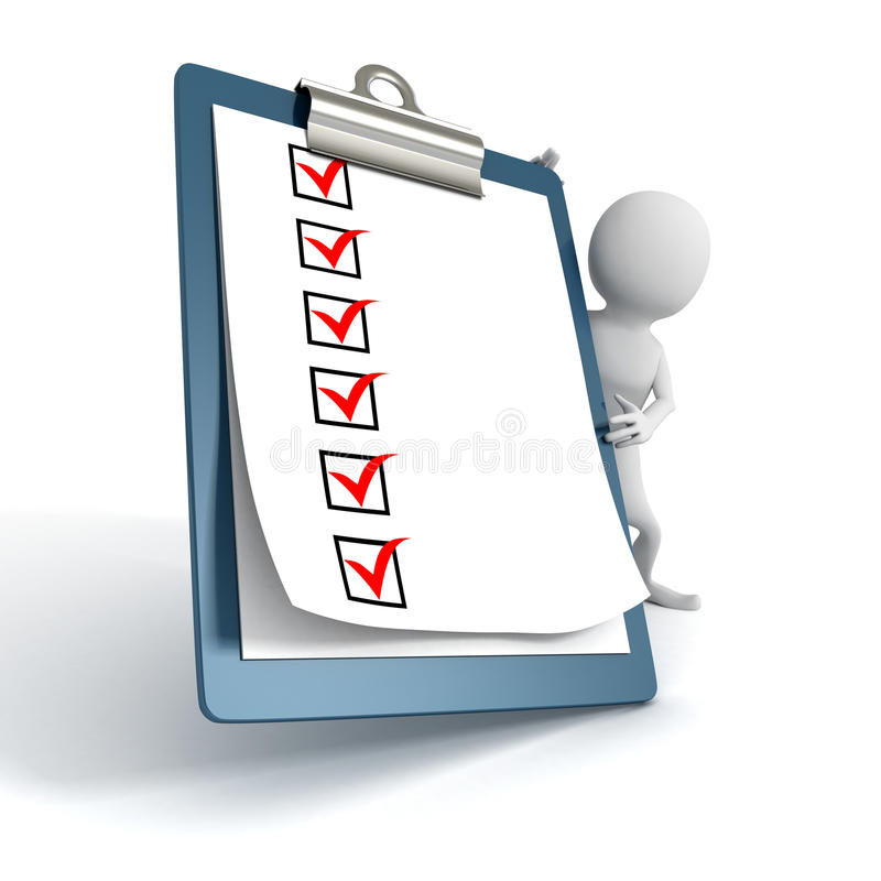 Persona bianca 3d con una lista di ToDo del controllo della lavagna per appunti royalty illustrazione gratis
