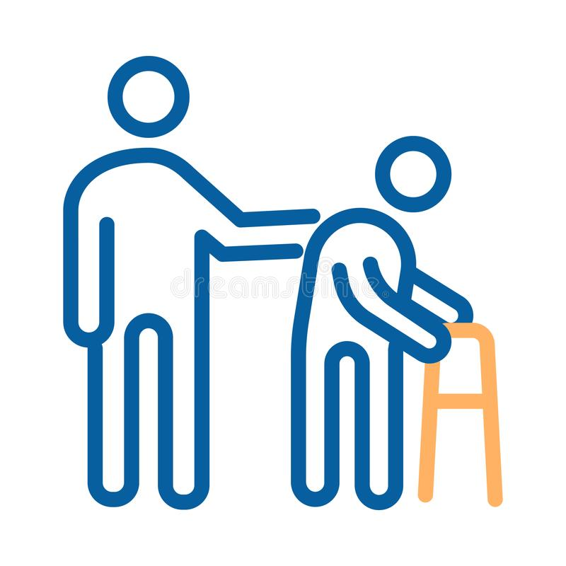 Persona che aiuta paziente anziano Linea sottile illustrazione di vettore dell'icona sanità per la gente più anziana illustrazione vettoriale