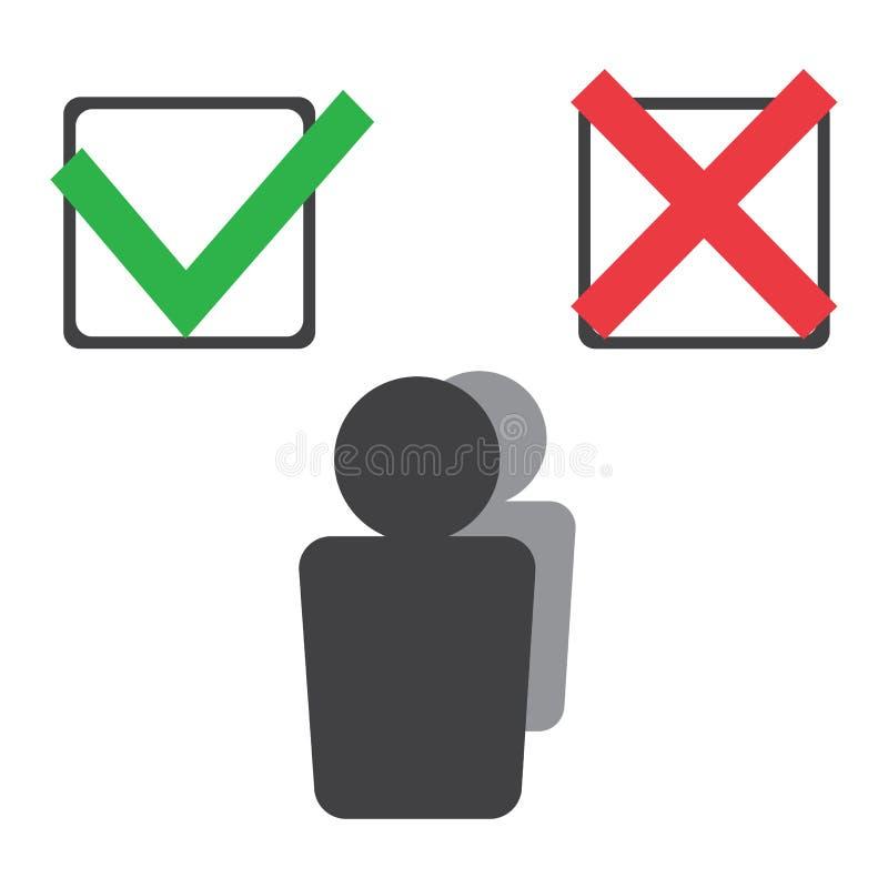 Persona che prende una decisione Scegliendo opzione in mezzo sì e no Scelta, problema e concetto di decisione Vettore illustrazione vettoriale