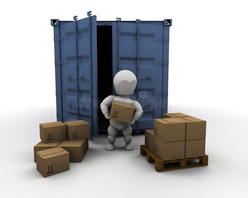 Persona che scarica il container illustrazione di stock