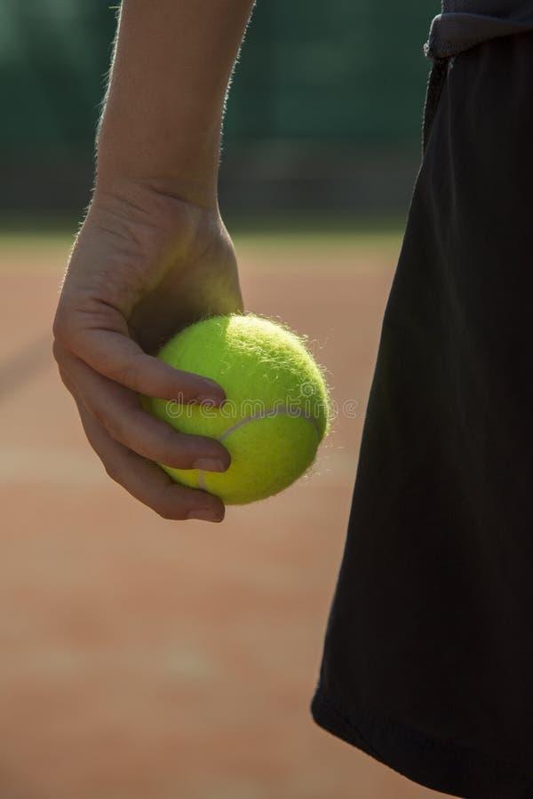 Persona che tiene una pallina da tennis in sua mano immagine stock libera da diritti