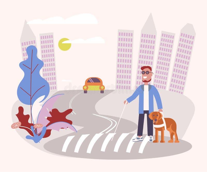 Persona ciega con el perro guía stock de ilustración