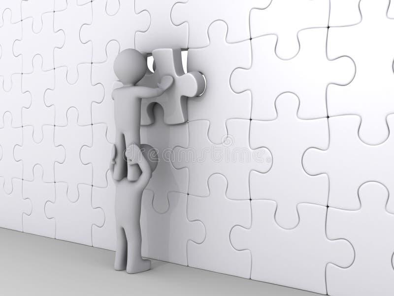 Persona in cima ad un altro puzzle di completamento illustrazione di stock