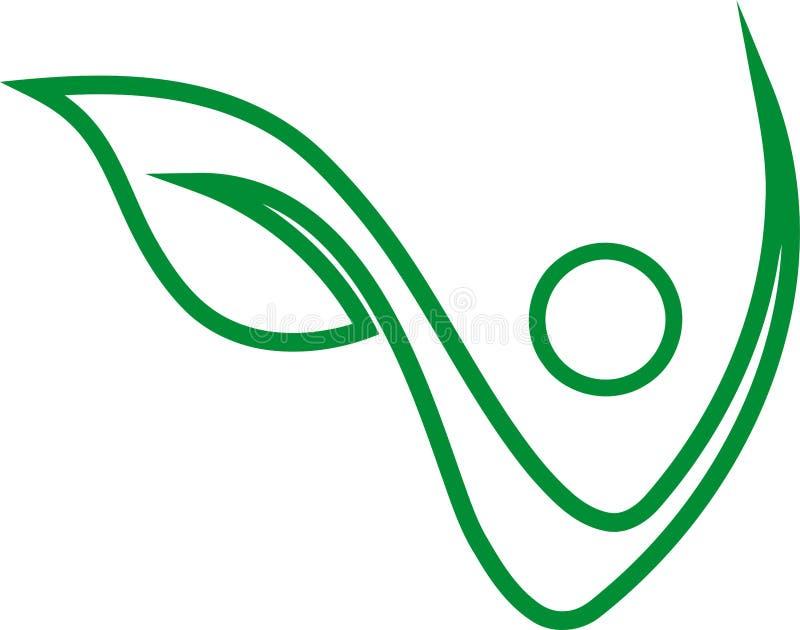 Persona come pianta, persona nel moto, vegano, logo, icona illustrazione di stock