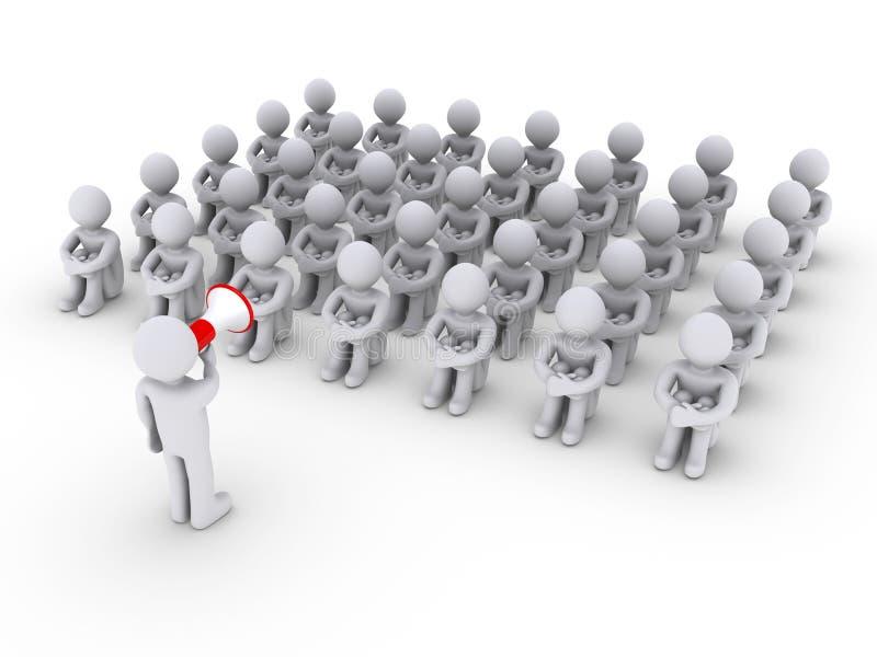 Persona con el megáfono y otras que se sientan stock de ilustración