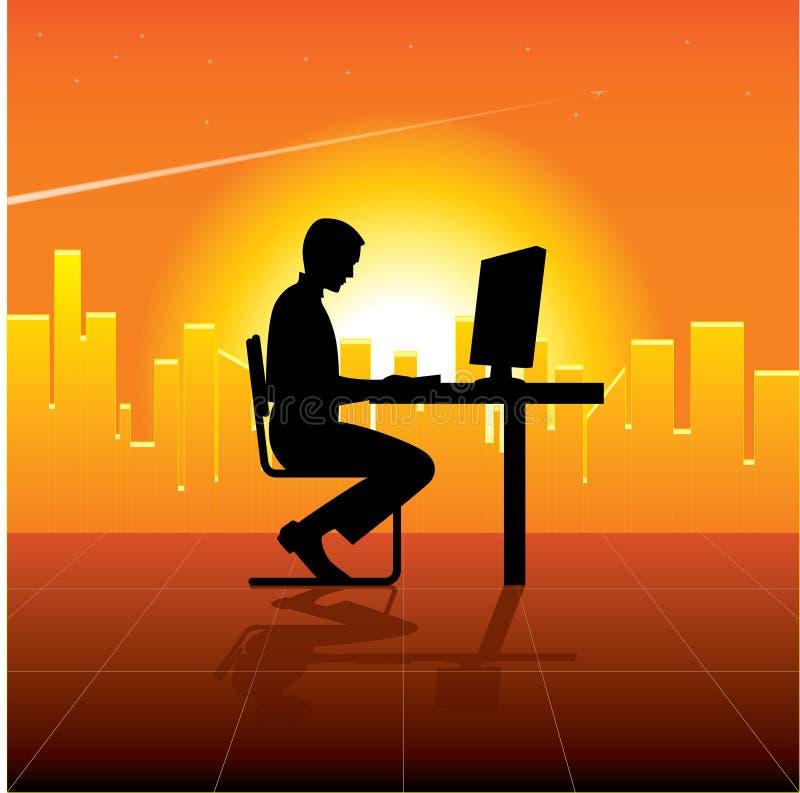 Persona con el ordenador en ciudad libre illustration