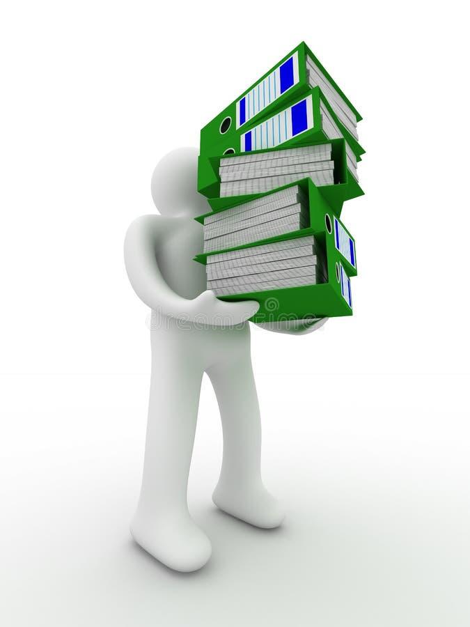 Persona con i dispositivi di piegatura di contabilità. illustrazione vettoriale