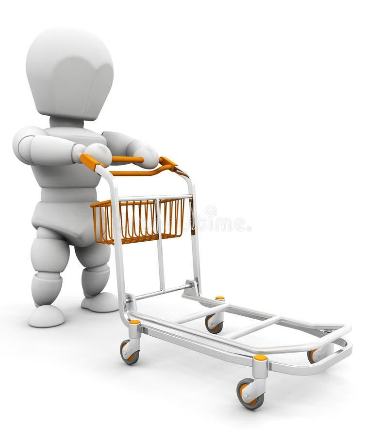 Persona con il carrello dei bagagli illustrazione vettoriale