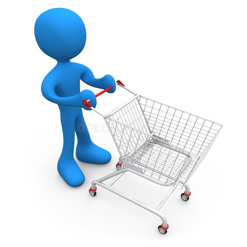 Persona con il carrello di acquisto illustrazione di stock