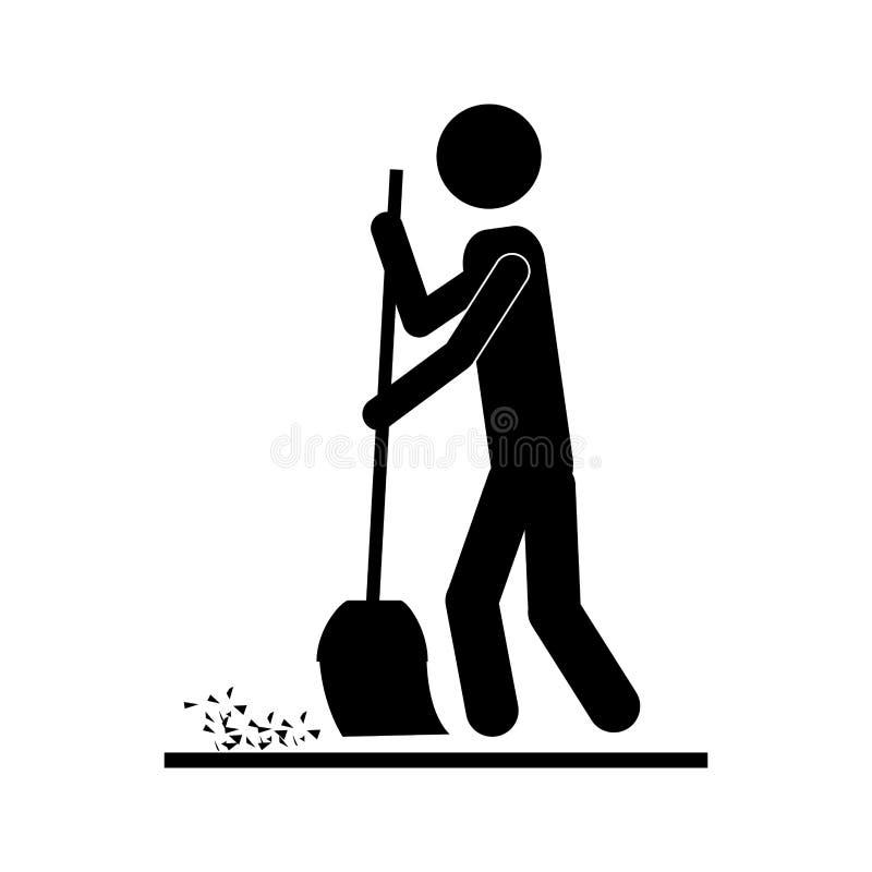 Persona con imagen del icono de la escoba stock de ilustración