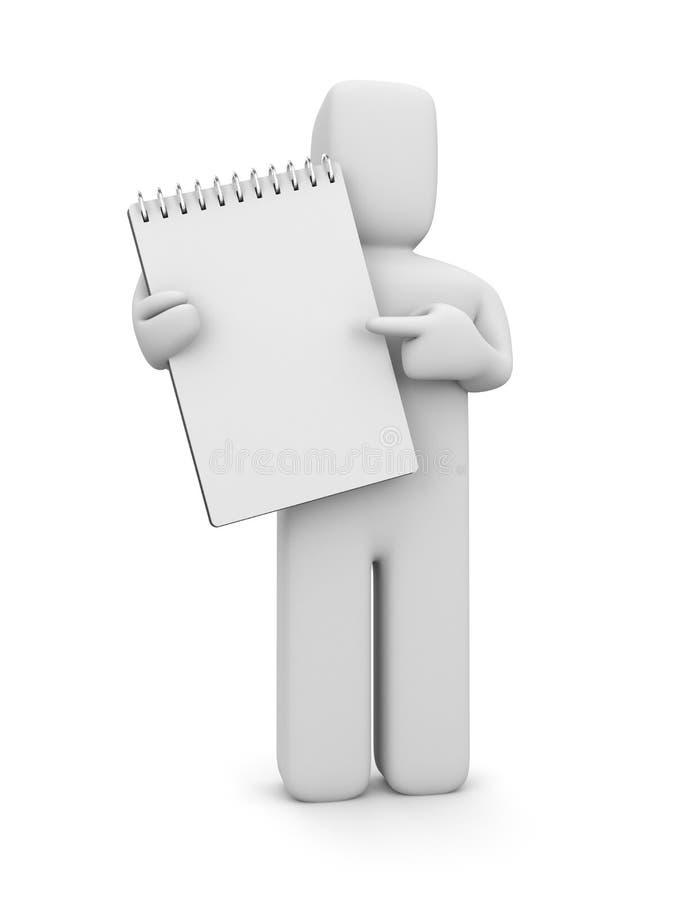 Persona con la libreta espiral en blanco ilustración del vector