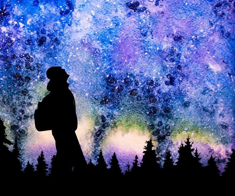 Persona con la mochila que mira las estrellas en cielo nocturno stock de ilustración