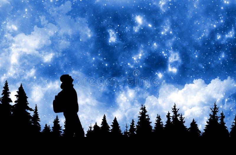 Persona con la mochila que mira las estrellas en cielo nocturno sobre el bosque del pino foto de archivo libre de regalías
