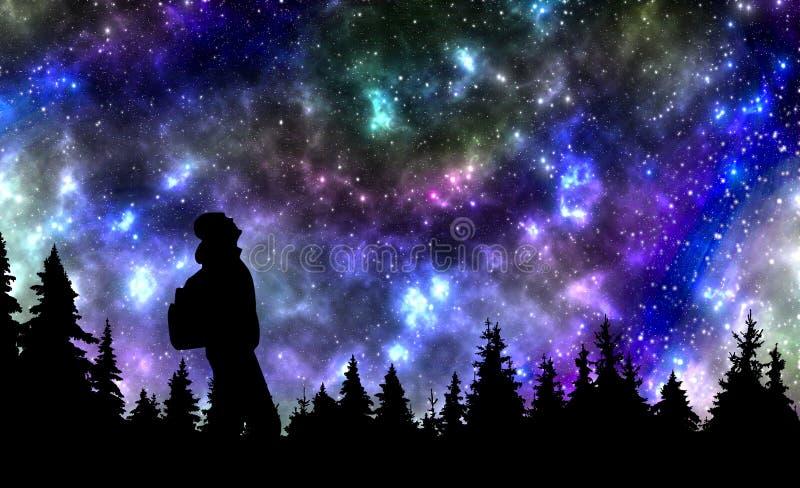 Persona con la mochila que mira las estrellas en cielo nocturno sobre el p fotos de archivo libres de regalías