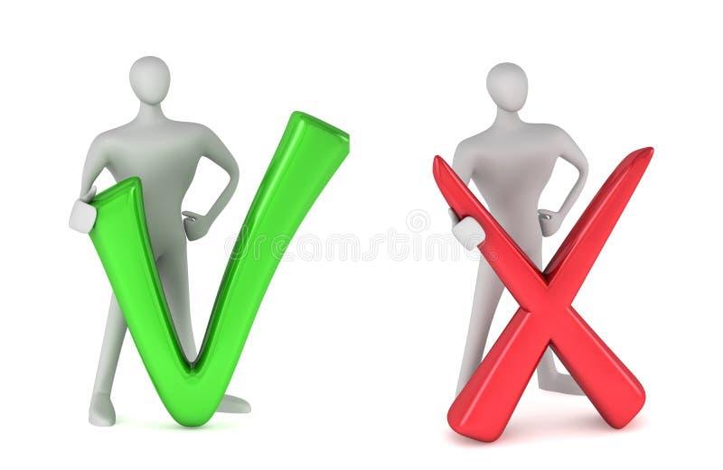 Persona con la tacca e persona con il simbolo negativo royalty illustrazione gratis