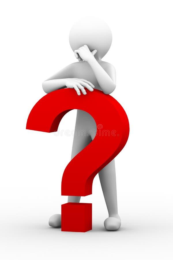 persona confusa 3d con el ejemplo del signo de interrogación stock de ilustración