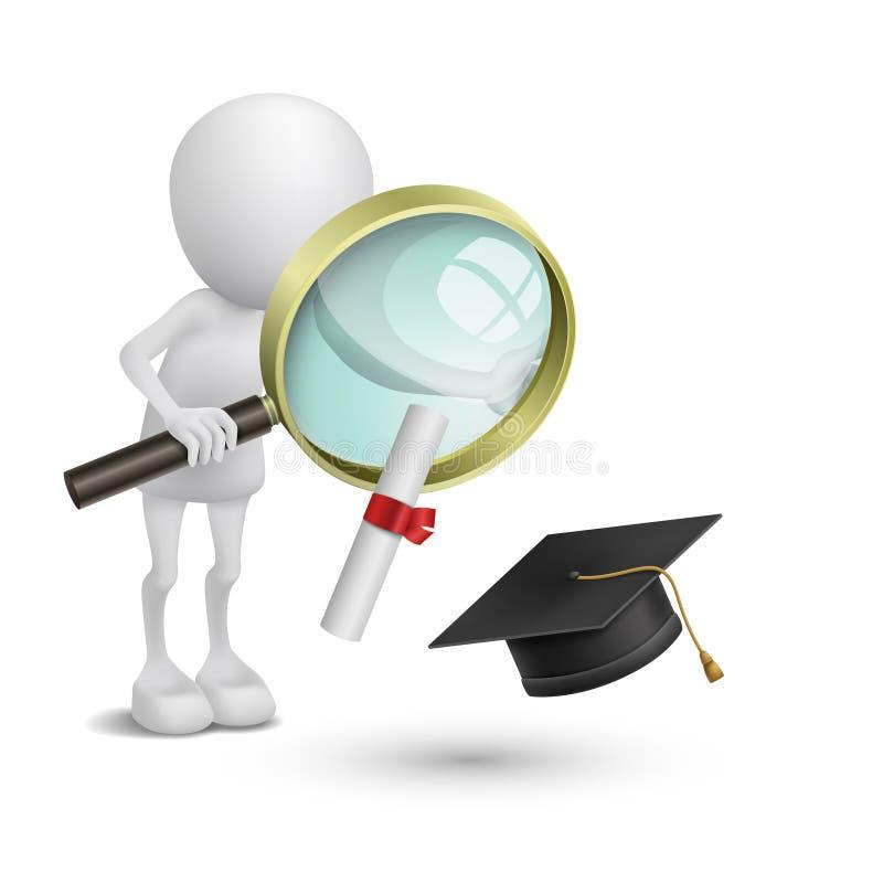 persona 3d che guarda il cappuccio ed il diploma di graduazione royalty illustrazione gratis