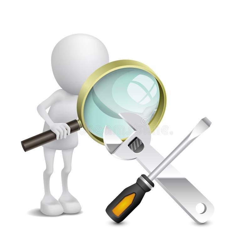 persona 3d che guarda un cacciavite e una chiave con un ingrandimento illustrazione vettoriale
