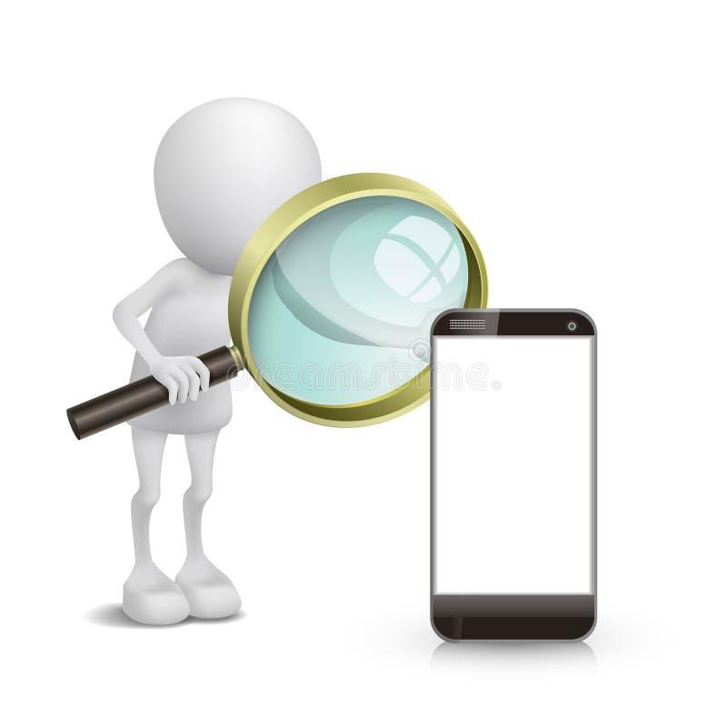 persona 3d che guarda un telefono cellulare con una lente d'ingrandimento illustrazione vettoriale
