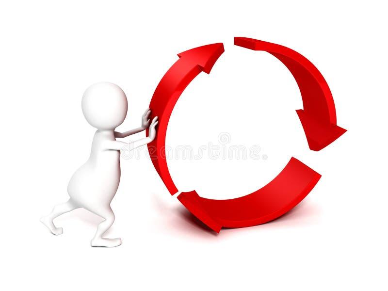 persona 3d che spinge le frecce del ciclo del rotolo royalty illustrazione gratis