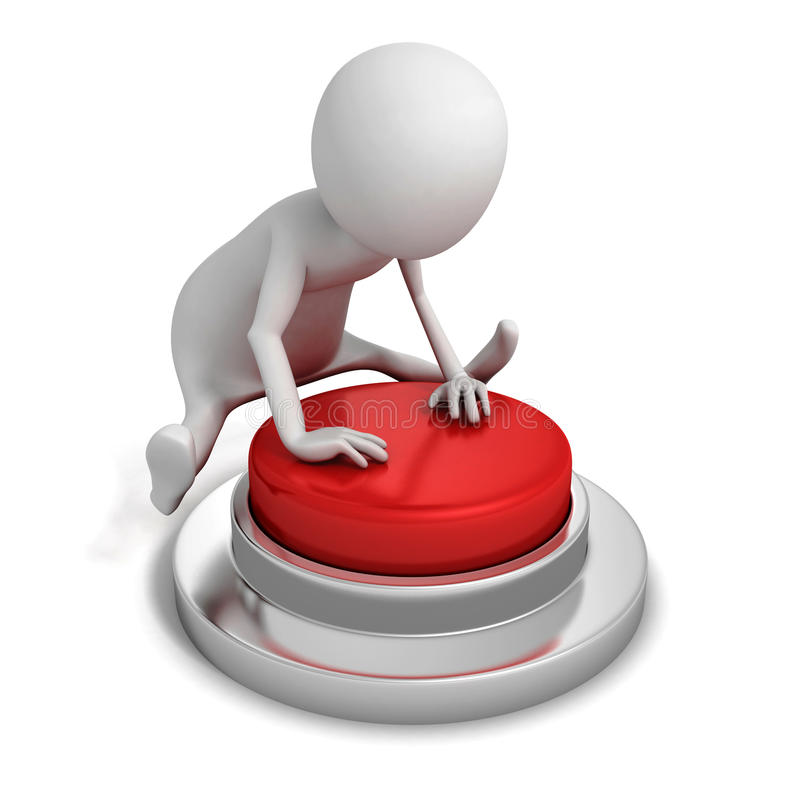 persona 3D che spinge un bottone rosso nel salto illustrazione vettoriale